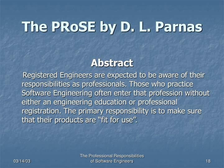 The PRoSE by D. L. Parnas