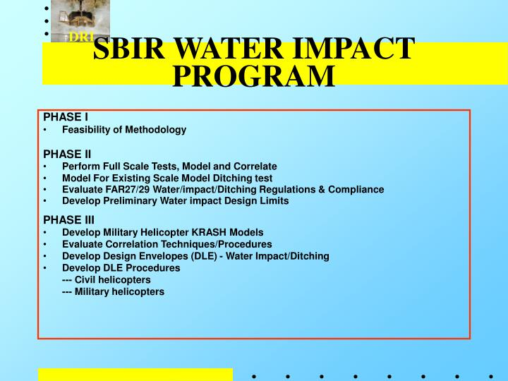 Sbir water impact program