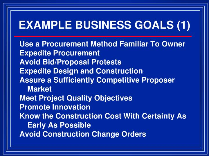 EXAMPLE BUSINESS GOALS (1)
