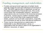 funding management and stakeholders