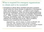 what is required for emergent organizations to obtain and to be sustained