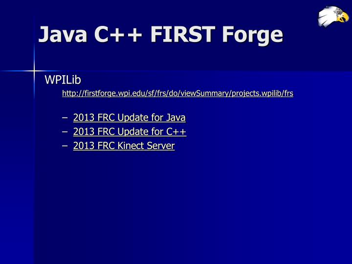 Java C++ FIRST Forge
