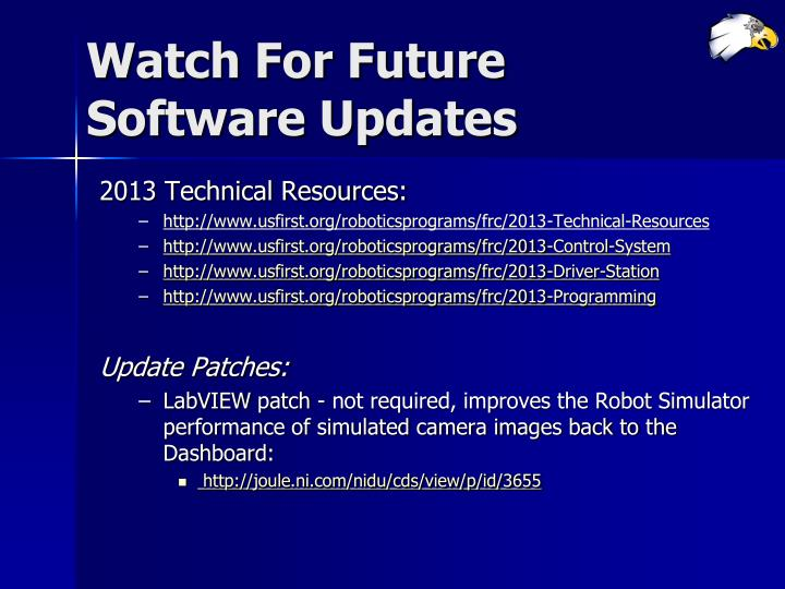 Watch For Future Software Updates
