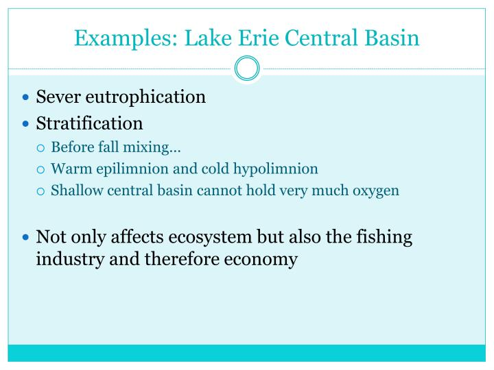 Examples: Lake Erie Central Basin