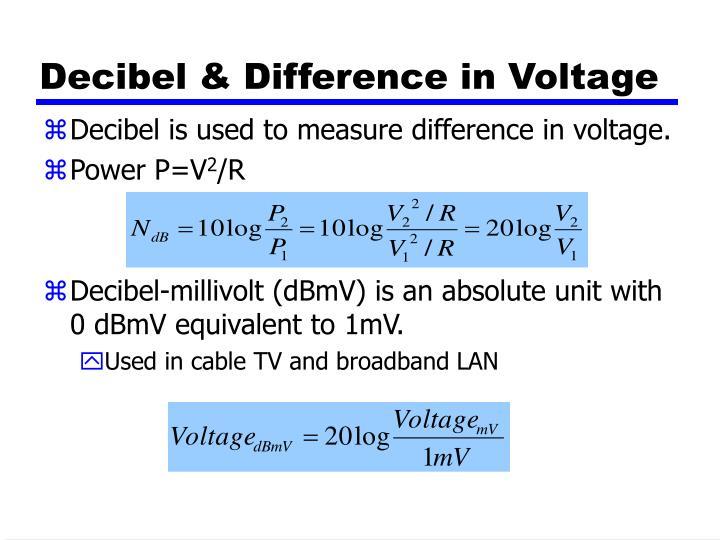Decibel & Difference in Voltage
