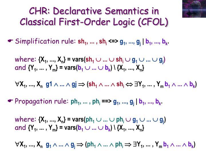 CHR: Declarative Semantics in