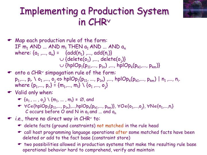 Implementing a Production System