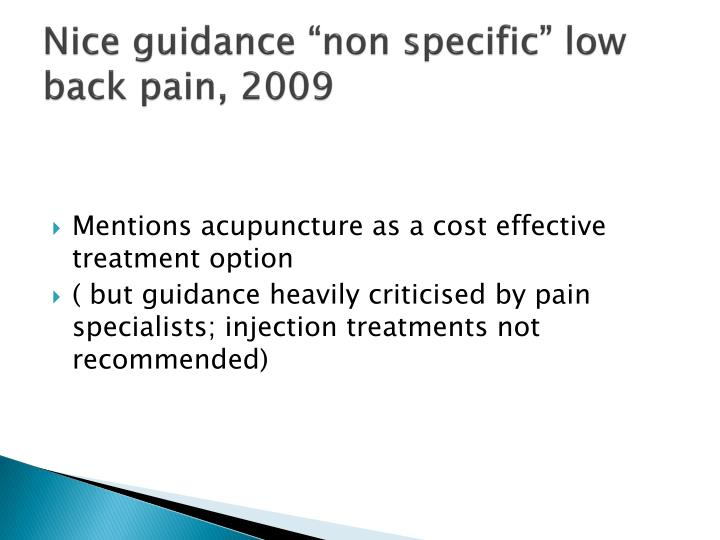 "Nice guidance ""non specific"" low back pain, 2009"
