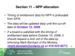 section 11 npp allocation