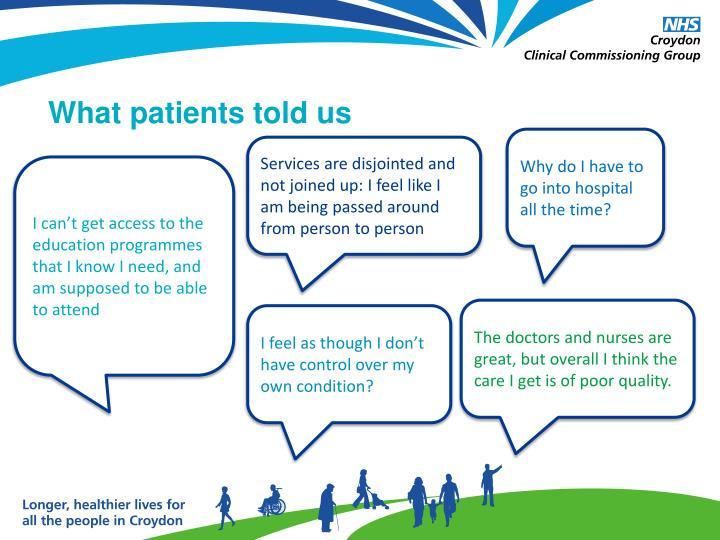 What patients told us