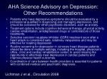 aha science advisory on depression other recommendations