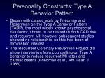personality constructs type a behavior pattern