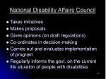 national disability affairs council