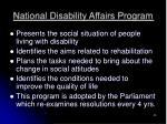 national disability affairs program