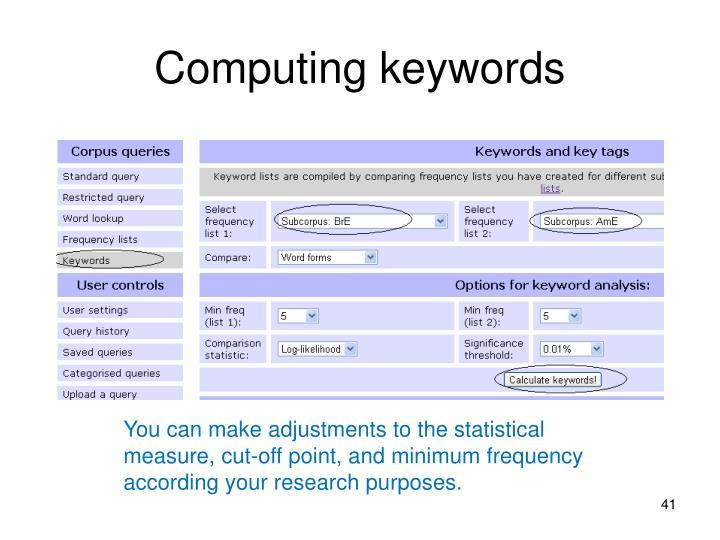 Computing keywords