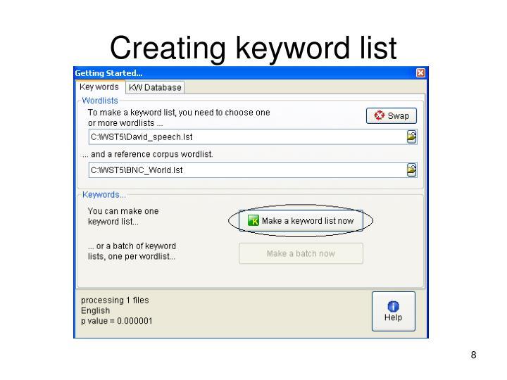 Creating keyword list