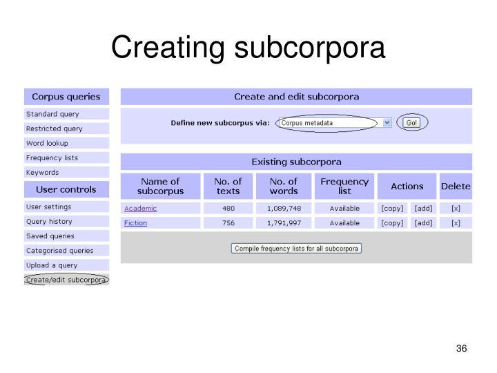 Creating subcorpora