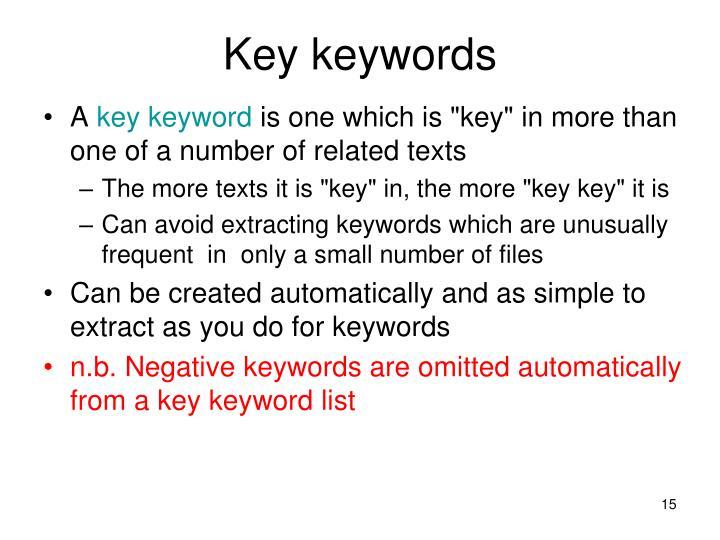 Key keywords