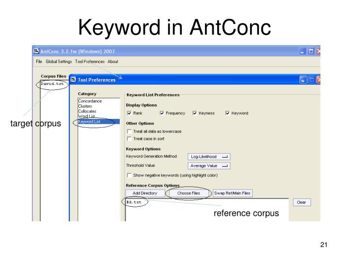 Keyword in AntConc