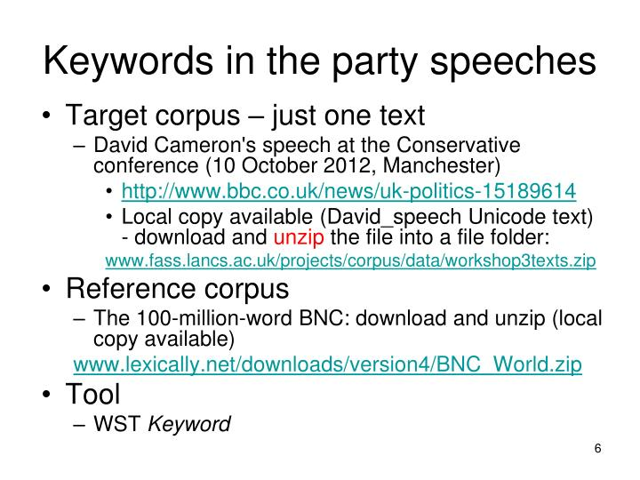 Keywords in the party speeches