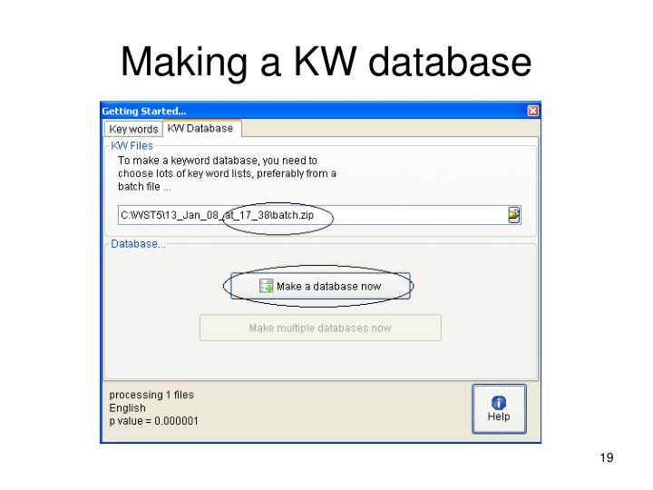 Making a KW database
