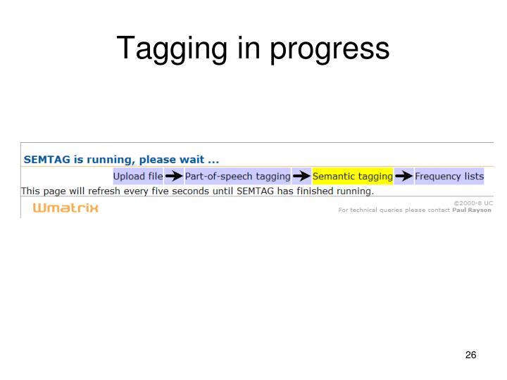 Tagging in progress
