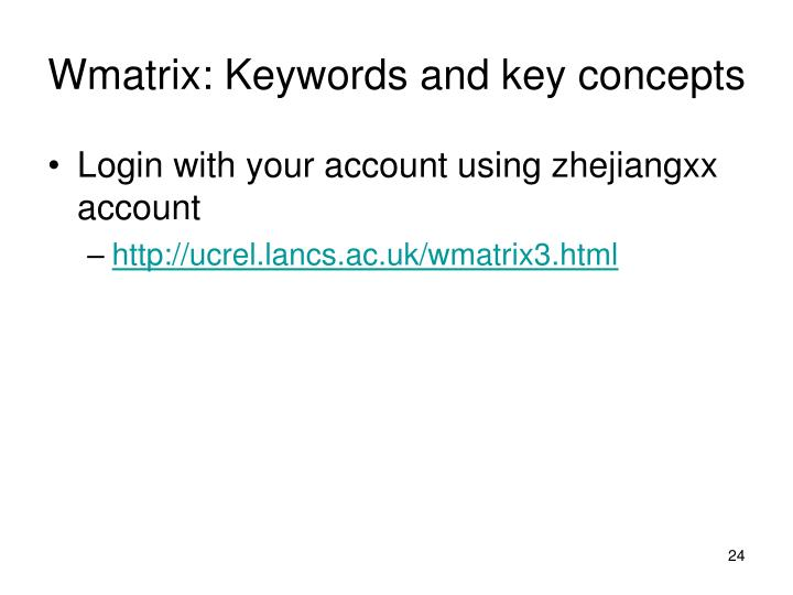 Wmatrix: Keywords and key concepts