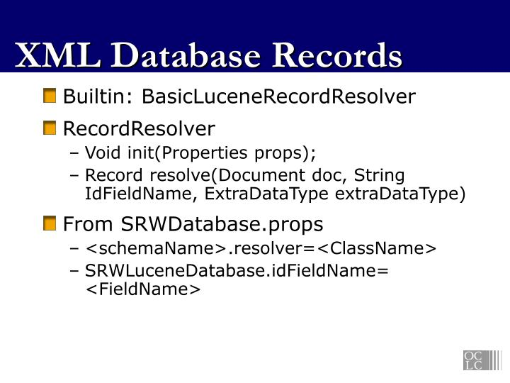 XML Database Records