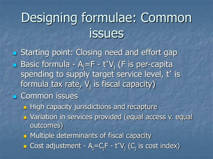Designing formulae: Common issues