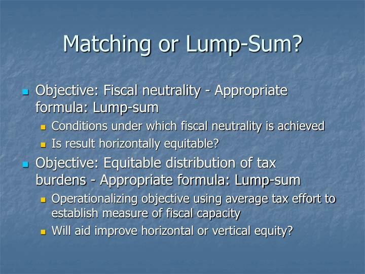Matching or Lump‑Sum?