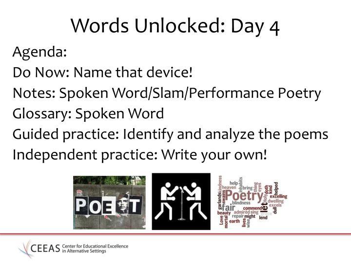 Words unlocked day 4