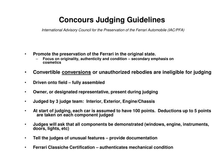 Concours Judging Guidelines