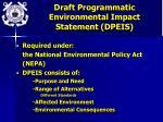 draft programmatic environmental impact statement dpeis