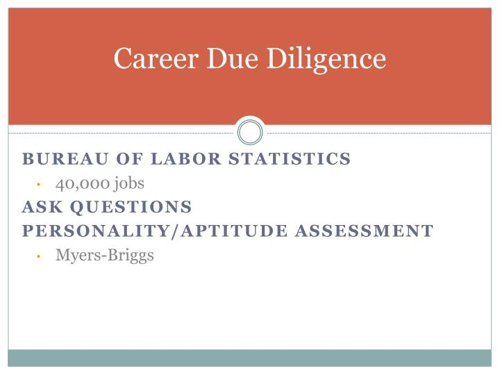 Career Due Diligence