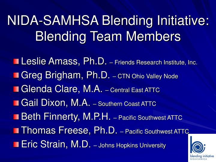 Nida samhsa blending initiative blending team members