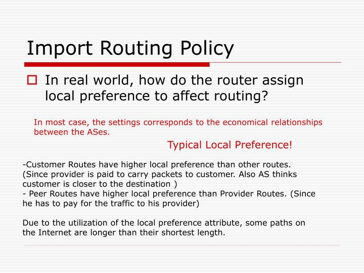 Import Routing Policy
