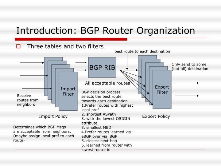 Introduction: BGP Router Organization