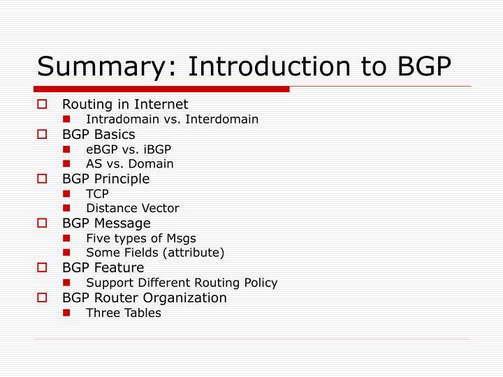 Summary: Introduction to BGP