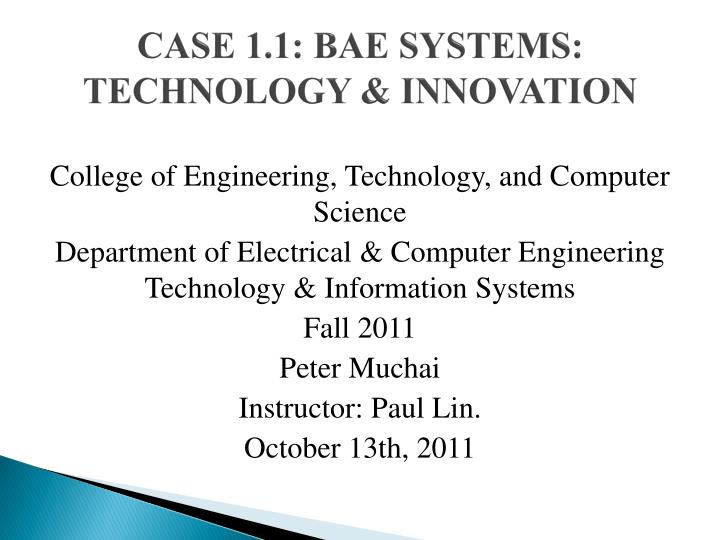 Case 1 1 bae systems technology innovation