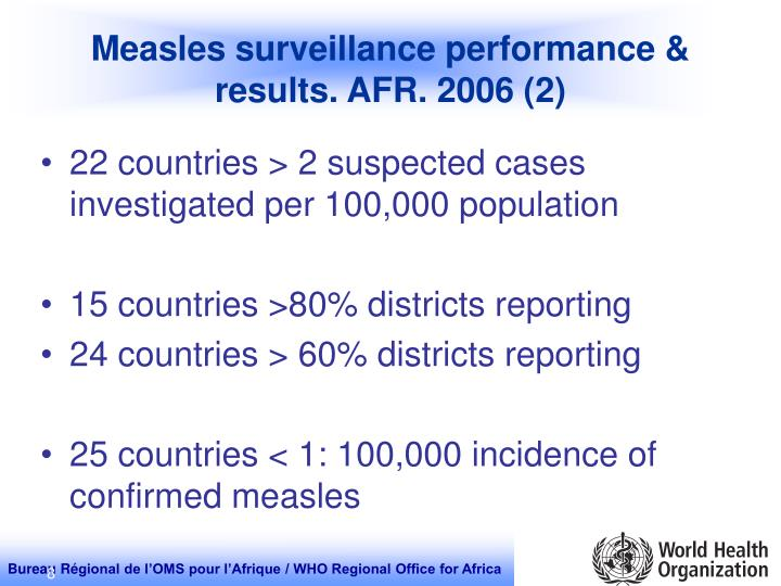 Measles surveillance performance & results. AFR. 2006 (2)