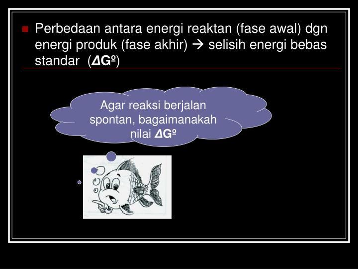 Perbedaan antara energi reaktan (fase awal) dgn energi produk (fase akhir)