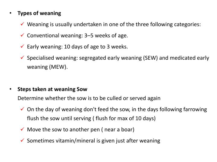 Types of weaning