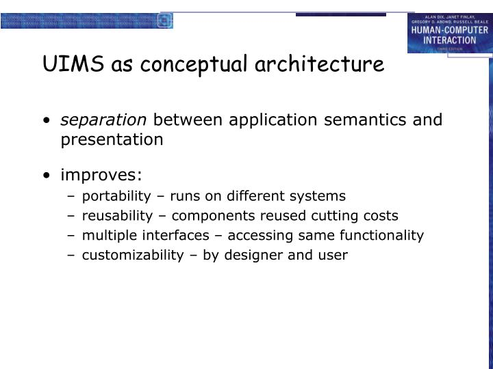 UIMS as conceptual architecture