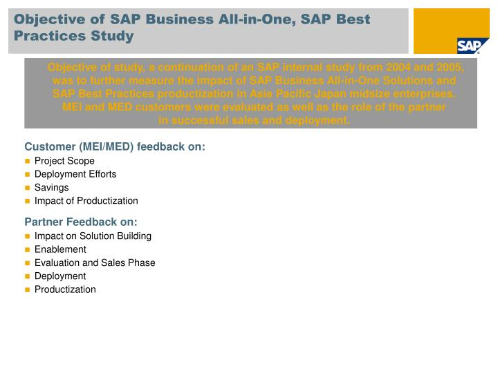 Objective of SAP Business All-in-One, SAP Best Practices Study