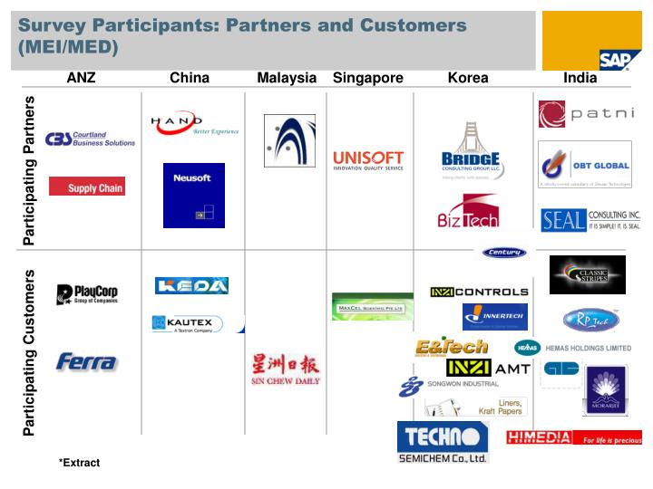Survey Participants: Partners and Customers (MEI/MED)