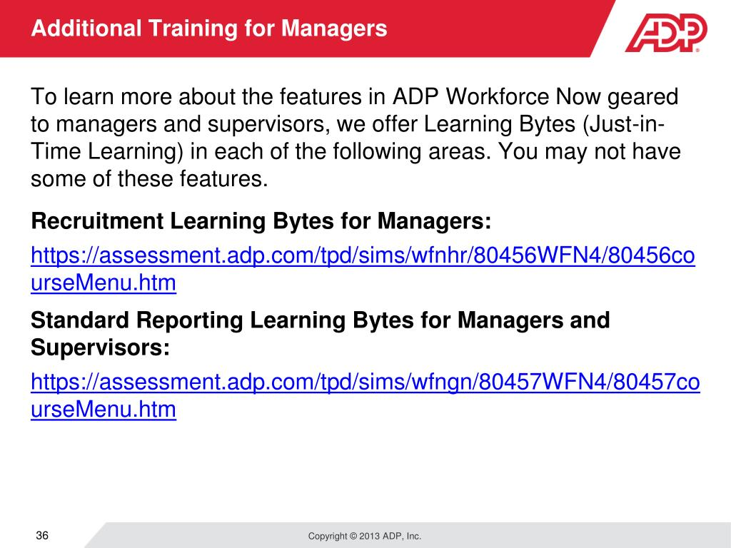 PPT - Welcome to Your ADP Workforce Now Manager Self Service