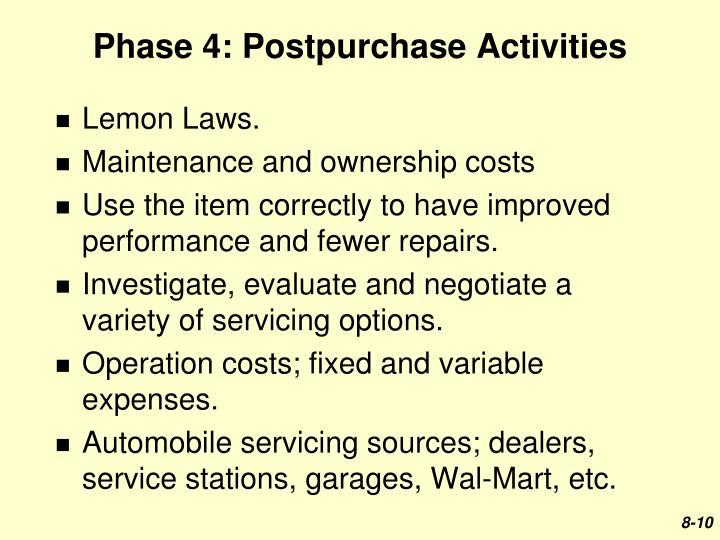 Phase 4: Postpurchase Activities