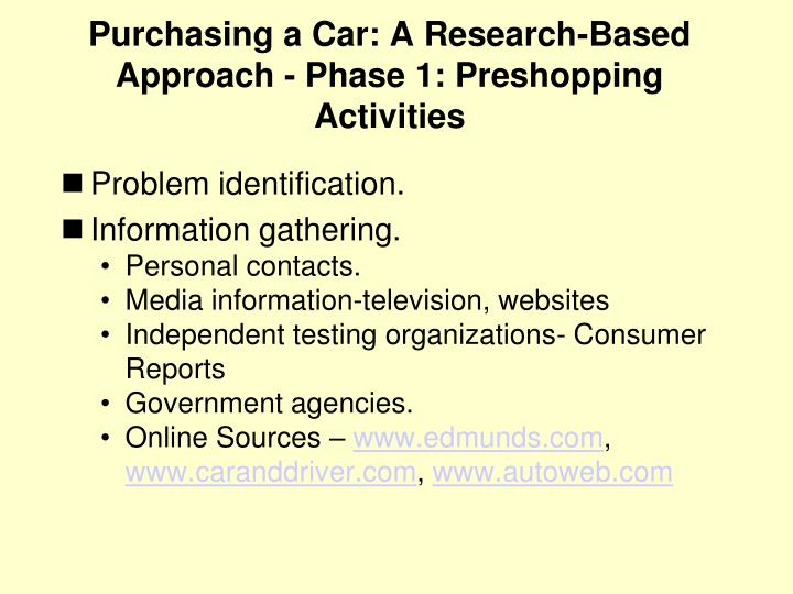 Purchasing a Car: A Research-Based Approach - Phase 1: Preshopping Activities
