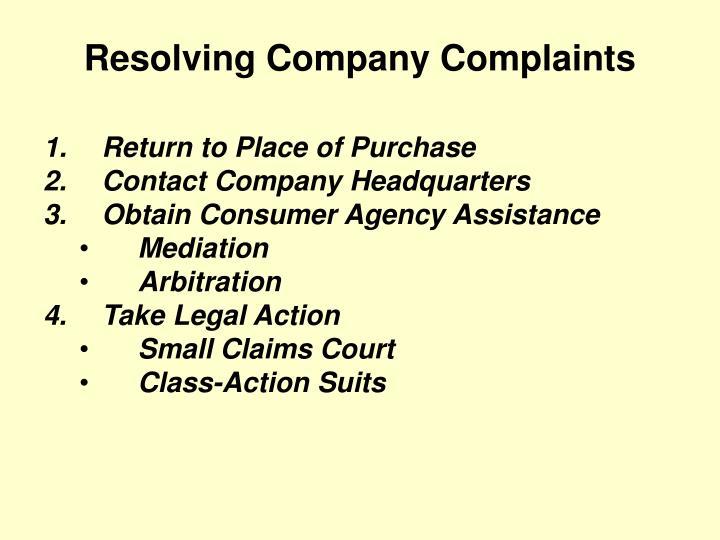 Resolving Company Complaints