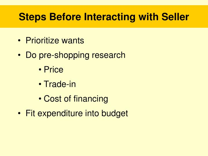 Steps Before Interacting with Seller